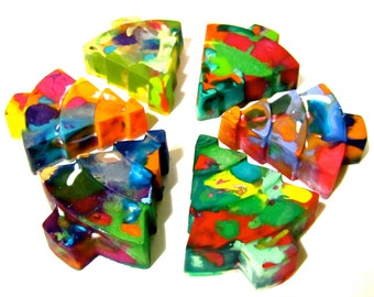 Kid's CHRISTMAS TREE Recycled Crayons - Tree Rainbow Crayons (Set of 4 Recycled Crayons)