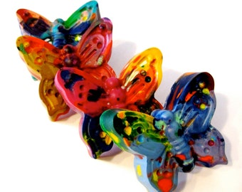 Kids BUTTERFLY Crayons - Jumbo Butterfly Rainbow Crayons  - Kids Easter  and Valentines Day Crayon Set