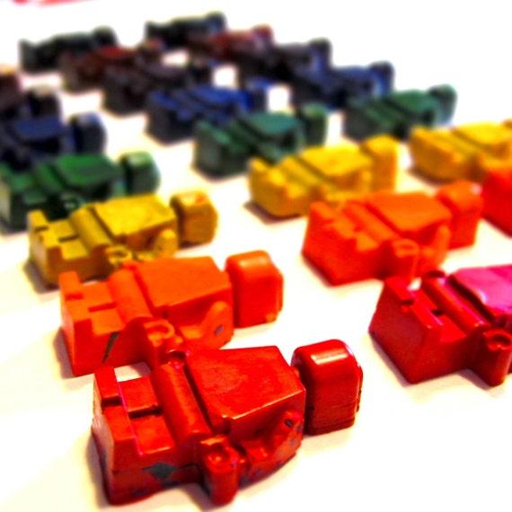 Recycled Crayons - Building Block Men Rainbow Crayons (Set of 8 Recycled Crayons)