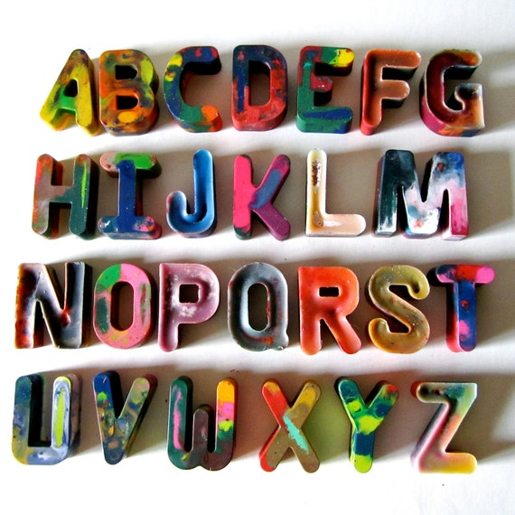 ALPHABET Crayons -Alphabet Recycled Rainbow Crayons - Set of 26 Individually Packaged Recycled Rainbow Crayons