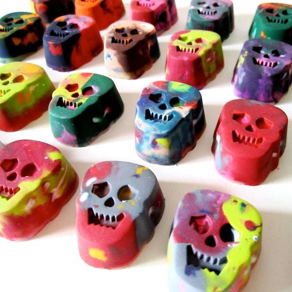 Mini Day of the Dead Recycled Rainbow Crayons (Set of 9 Recycled Crayons) el Dia de los Muertos