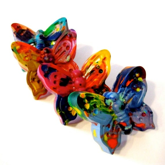 Kids BUTTERFLY Crayons - Jumbo Butterfly Rainbow Crayons -Set of 3 Recycled Butterfly Rainbow Crayons - Birthday Toy Crayon
