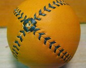 LEMON BALL Vintage style lemon peel baseball.  Tan with Green stitches LB-GTan-Grn