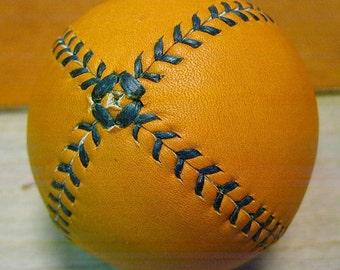 LEMON BALL Vintage style lemon peel baseball.  Tan with Green stitches LB-GTan-Grn