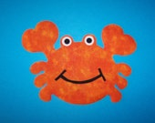 Fabric Applique TEMPLATE ONLY Funny Crab....Great For T Shirts Onesies Quilting Card Making Scrapbooking