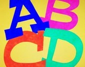 Fabric Applique TEMPLATE Pattern ONLY Uppercase Set...... ALPHABET..... Large Font.... Fun & Funky Font A to Z......New