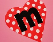 Fabric Applique TEMPLATE Pattern ONLY Valentine Heart With Single Playful Font Letter...New