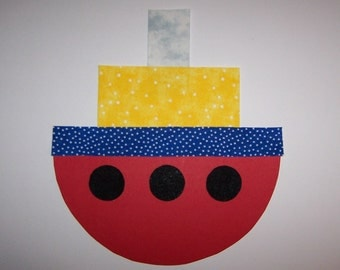 Fabric Applique TEMPLATE ONLY Ship Boat