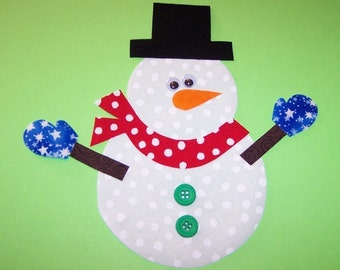 Fabric Applique TEMPLATE ONLY Snowman With Mittens