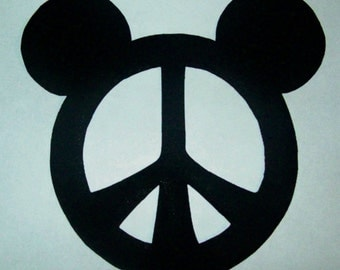 Fabric Applique TEMPLATE ONLY Mickey Mouse PEACE Symbol