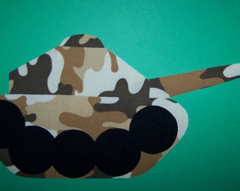 Fabric Applique TEMPLATE ONLY Army Tank