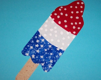 Fabric Applique TEMPLATE Pattern ONLY 4th of JULY Bomb Pop Popsicle...New