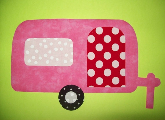 Fabric Applique TEMPLATE ONLY Camper Trailer