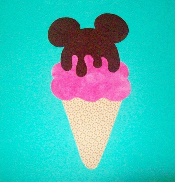 Fabric Applique TEMPLATE ONLY Drippy Chocolate Mickey Mouse Ice Cream Cone