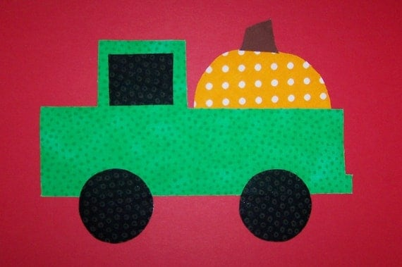 Fabric Applique TEMPLATE ONLY Truck With Pumpkin