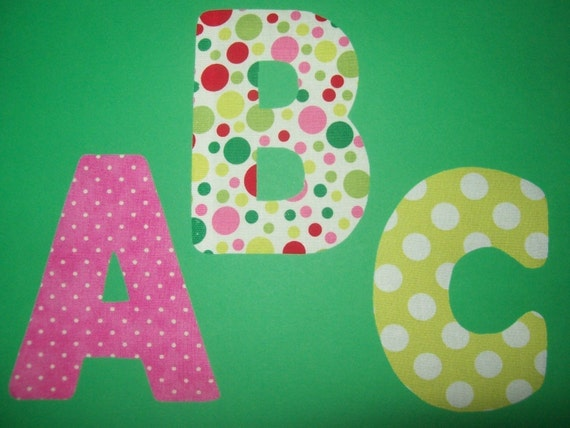 Fabric applique template pattern only alphabet by etsykim for Fabric letter templates