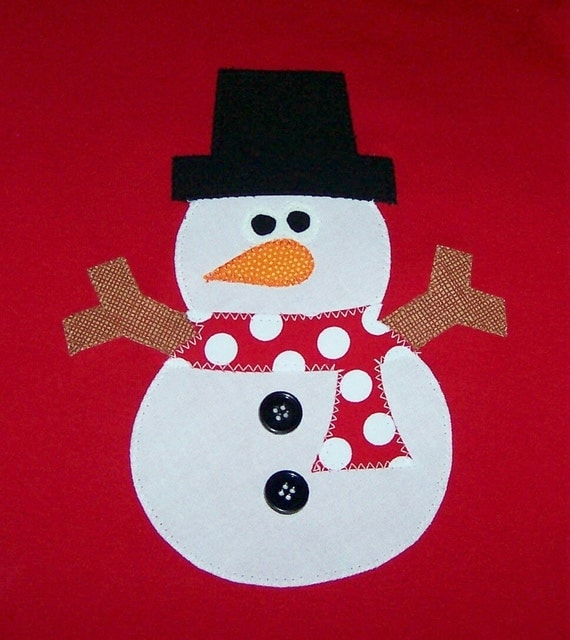 Fabric Applique TEMPLATE ONLY Chubby Snowman.....NEW