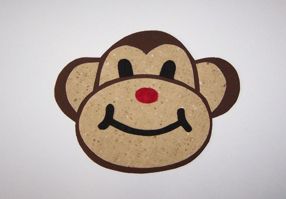 Fabric Applique TEMPLATE ONLY Monkey....Great For T Shirts Onesies Quilting Card Making Scrapbooking
