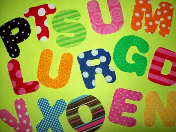 Fabric Applique TEMPLATE Pattern Only.... ALPHABET LETTERS Full Set 26 ....Mini Chunky