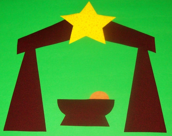 Fabric Applique TEMPLATE Pattern ONLY Christmas Baby Jesus In Nativity Manger...New