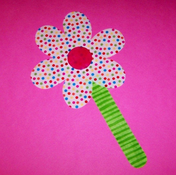 Applique TEMPLATE Pattern Only GARDEN FLOWER With Stem
