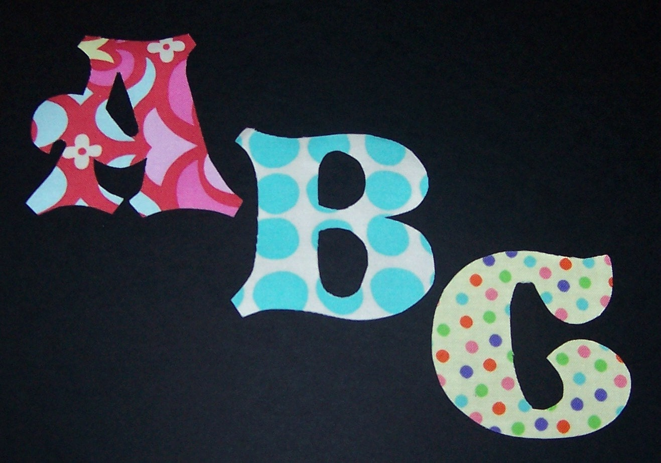 Fabric applique patterns only alphabet letters full set for Material letters template