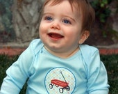 Little Red Wagon Long or Short Sleeve Blue Onesie or Tee