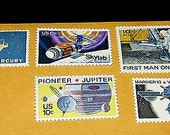 Vintage Postage Stamps .. SPACE Missions ..  Enough to mail 5 letters