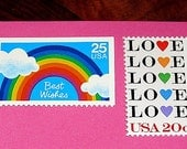 Special Occasions .. Unused Vintage Postage Stamps .. Mail 12 letters. Birthdays, Get Well, Rainbow stamp, Love Letters, Valentines
