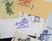 Mr. ZIP .. Vintage Postage Stamps .. 50 Use Correct Zip Code Labels .. Scrap booking, penpals, letter writing, stamp collecting, ephemera