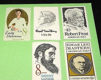 POETS | Unused Vintage Postage Stamps | Mail 10 letters | 49 cents