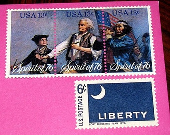 Independence Day....Vintage MINT US Postage Stamps... to mail 5 letters .. Fourth of July celebration, Beer and fireworks, Hot dogs