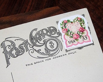 LOVE .. PINK Roses and Lace .. Unused Vintage Postage Stamps .. mail 20 postcards. Victorian age decor, Old Love letters, Graceful living