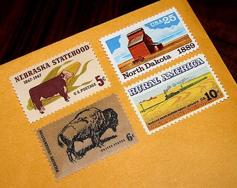 Great Plains .. Unused Vintage Postage Stamps .. Enough to mail 5 letters