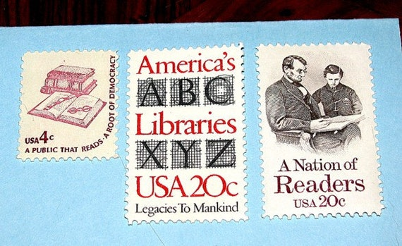 Books, Reading and Libraries .. Unused Vintage US Postage Stamps .. Enough to mail 5 letters