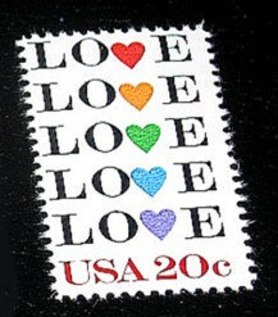 LOVE Stamp Set of 50 .. Unused Vintage Postage Stamps .. 20 cent Multicolored Hearts, Rainbow love, Floral Love stamp, Valentines, Love note