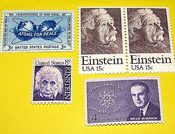 HEY EINSTEIN .. Unused Vintage Postage Stamps .. Enough to mail 5 letters