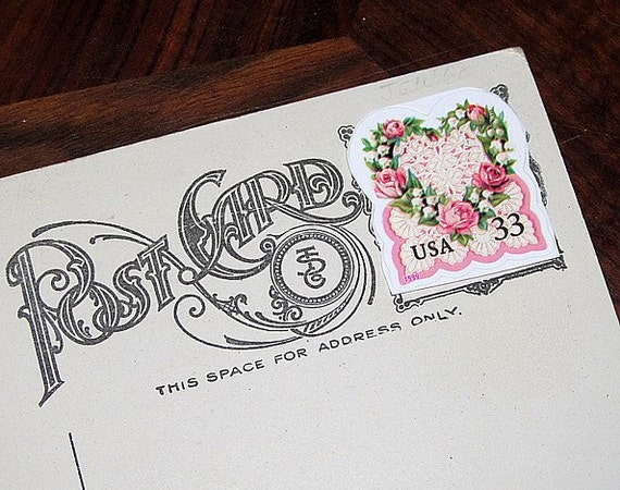 LOVE .. PINK Roses and Lace .. Unused Vintage Postage Stamps .. mail 20 postcards