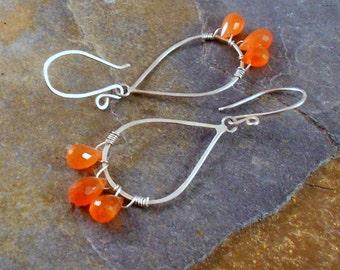 Orange Carnlian and Sterling Silver Chandelier Earrings