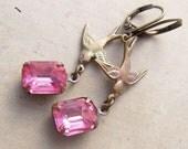 Vintage Rhinestone Earrings with Bird. Emilie Earrings