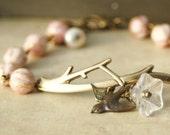 Branch Cuff Bracelet, Brass Tree Branch Cuff Bracelet, Pink Glass Beadwork, Bird Charm, Bird Bracelet, Memorial Bracelet