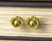 Stud Earrings, Green Flower Stud Earrings, Flower Stud Earrings, Sage Green Studs, Stud Earrings
