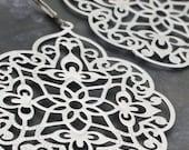 Arabesque Silver Chandelier Earrings, Silver Plated Chandelier Earrings, Large Silver Drop Earrings, Big Chandelier Earrings
