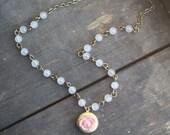 Vintage Locket, Rose Locket Necklace, Beaded Strand Necklace, Flower Locket Necklace, Marble Strand Necklace