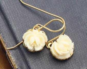 Small Flower Earrings, Ivory White Rose Dangle Earrings, Drop Earrings, Dangle Earrings, Weddings
