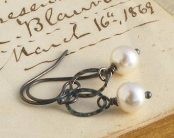 Snow Drop Earrings, Pearl Drop Earrings, Oxidized Sterling Silver, Weddings, Dangle Earrings, Drop Earrings