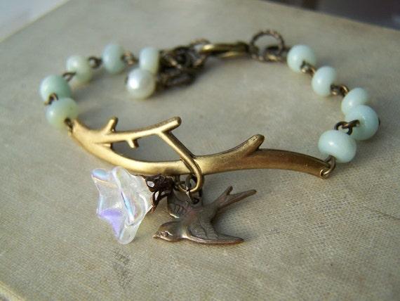 Twig Cuff Bracelet,  Brass Branch Cuff Bracelet, Bird Charm Bracelet, Amazonite Beaded Bracelet, Cuff Bracelet, Memorial Bracelet