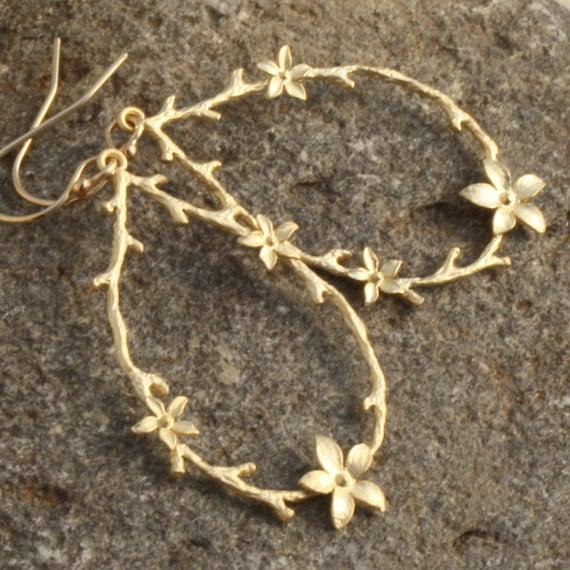 Petal Dangle Earrings, Matte Gold Dangle Earrings, Gold Plated Drop Earrings, Gold Branch Earring, Weddings, Gold Flower Dangle Earrings