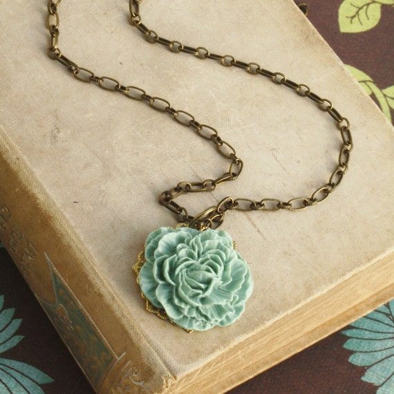 Aqua Statement Necklace, Locg Necklace, Statement Necklace, Flower Necklace, Layering Necklace