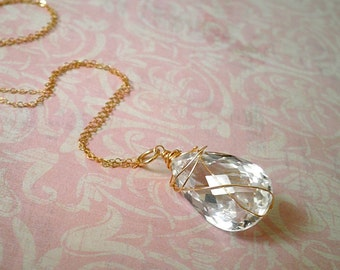 Snow White Quartz Pear Briolette Gold Filled or Sterling Wire Wrapped Bridal or Bridesmaid Necklace. Magnolia Jewel Designs